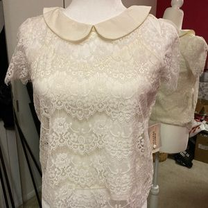 Cream lace top. Small. Two piece. New with tags.
